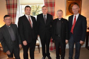 Mgr. John O'Boyle, Chairperson of St. Colman's College, Mr. John Kelly, President, St. Jarlath's College, Mr. Paddy Boyle, Chairperson, St. Jarlath's College, Archbishop Michael Neary, Patron of both diocesan Colleges, Mr. Jimmy Finn, President, St. Colman's College