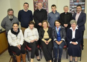 Back Row: Fr. Michael Murphy, Kieran McTighe, Garbally College, Ballinasloe, Canon Brendan Kilcoyne, PP, Athenry, Arnold, Garbally College, Archbishop Michael Neary, Roy Hession, St. Colman's College. Front Row: Niamh Flanagan, Glenamaddy Community School, Ciiona Feerick, St. Jarlath's College, Kate Liffey, Episcopal Conference, Maynooth, Mary Egan, St. Colman's College, Claremorris, Sr. Margaret Buckley, Organiser, Diocesan Resource Centre, Tuam.