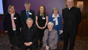 Back Row: Sr. Mary Kenny, Secondary Education, Mr. John McDonagh, Primary Edcuation, Ms. Siobhán Bradley, Youth Director, Sr. Margaret Buckley, Secondary Education, Canon Brrendan Kilcoyne, Facilitator. Front Rwo: Archbishop Michael Neary, Patron, Sr. Mary Jo Martin, RSHM