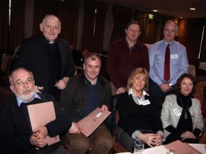 L-R: Tom Casby (Milltown), Fr J.J. Cribbin PP (Milltown), Paul Brett (?), Kenneth Dennedy (Ballyhaunis), Eileen Gleeson, (?), George Moran (?), Maura Joyce (?)