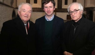 "L-R: Fr Kieran Waldron, Dr John Cunningham who gave the lecture titled. ""Cromwellian Impact west of the Shannon in Ballintubber Abbey"", Fr Frank Fahey CC, Ballintubber."