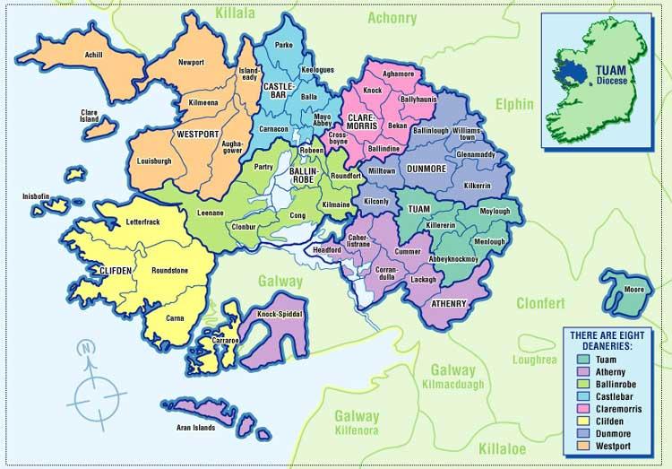 Parishes Map Archdiocese Of Tuam
