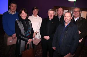 L-R: Sean O Ceallaigh (Moylough), Anne O Reilly (Murrisk N.S.), Emer Askin (Louisburgh N.S.), Archbishop Michael Neary, Gerry Hussey (Gortnaleam), Tommy Grealish (Lavally N.S.), Eamonn Kitt (Ballindereen).